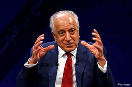 U.S. envoy for peace in Afghanistan Zalmay Khalilzad speaks during a debate at Tolo TV channel in Kabul, Afghanistan April 28,…