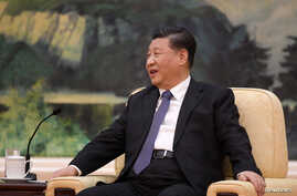 Chinese President Xi jinping speaks during a meeting with Tedros Adhanom, director general of the World Health Organization, at…