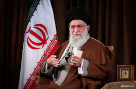 Iran's Supreme Leader Ayatollah Ali Khamenei delivers a televised speech, in Tehran, Iran March 22, 2020. Official Khamenei…