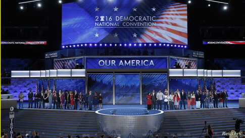 Congressional candidates that are running for office and being supported by the Democratic Congressional Campaign Committee appear onstage on the third day of the Democratic National Convention in Philadelphia, Pennsylvania, July 27, 2016.