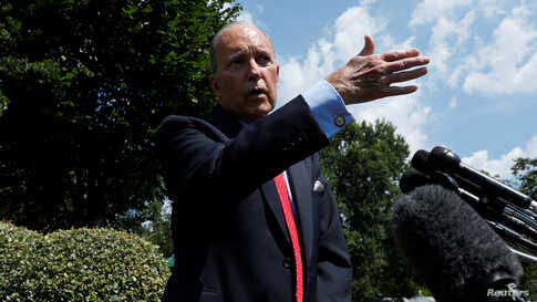 White House chief economic advisor Larry Kudlow speaks with reporters outside the West Wing of the White House in Washington, June 27, 2019.