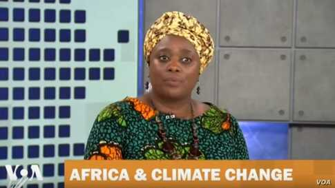 Clarissa Kayosa Segun talking about climate change in Africa  on Straight Talk Africa
