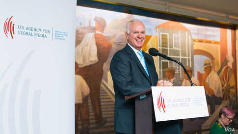 The U.S. Agency for Global Media's Chief Executive John Lansing said he will be leaving his post at the end of the month.