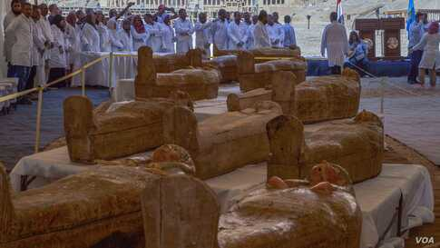 The Al-Asasif Cachette consisted of 30 coffins, 26 of them intact and sealed. Many were painted coffins of 22nd Dynasty priests and priestesses of Egypt's deities Amun and Khonsu. (H. Elrasam/VOA)