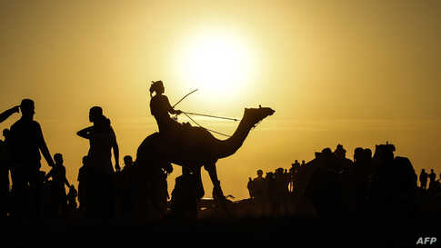 A Palestinian jockey is silhouetted as he competes in a local camel race held at the destroyed Gaza airport, in Rafah in the southern Gaza Strip, Oct. 20, 2019.
