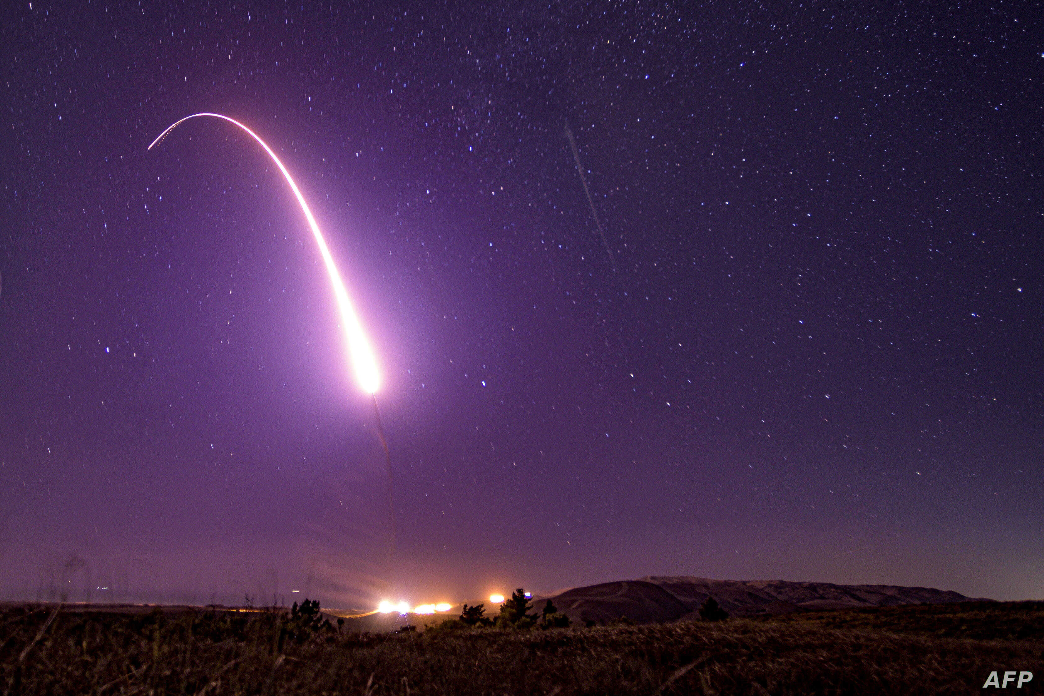 This U.S. Air Force handout photo shows an unarmed Minuteman III intercontinental ballistic missile launching during an operational test at 1:13 a.m. Pacific Time, at Vandenberg Air Force Base, California.