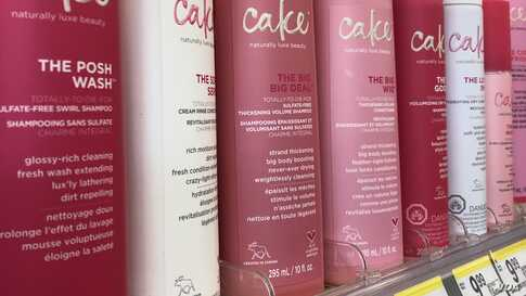 Personal care products on a store shelf in the Washington area, Oct. 17, 2019.