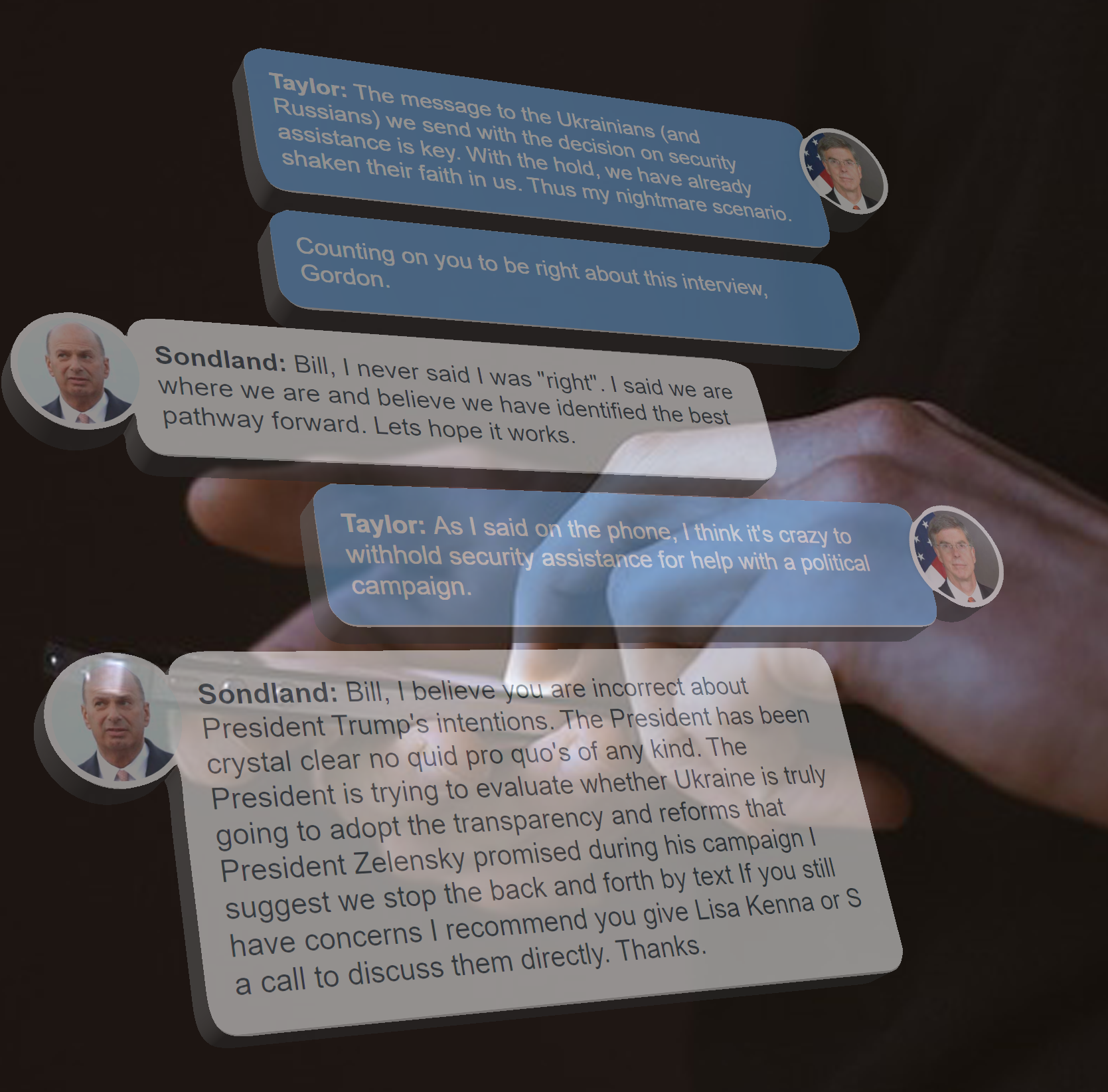 Texts between Gordon Sondland and William Taylor are superimposed over a hand holding a mobile phone