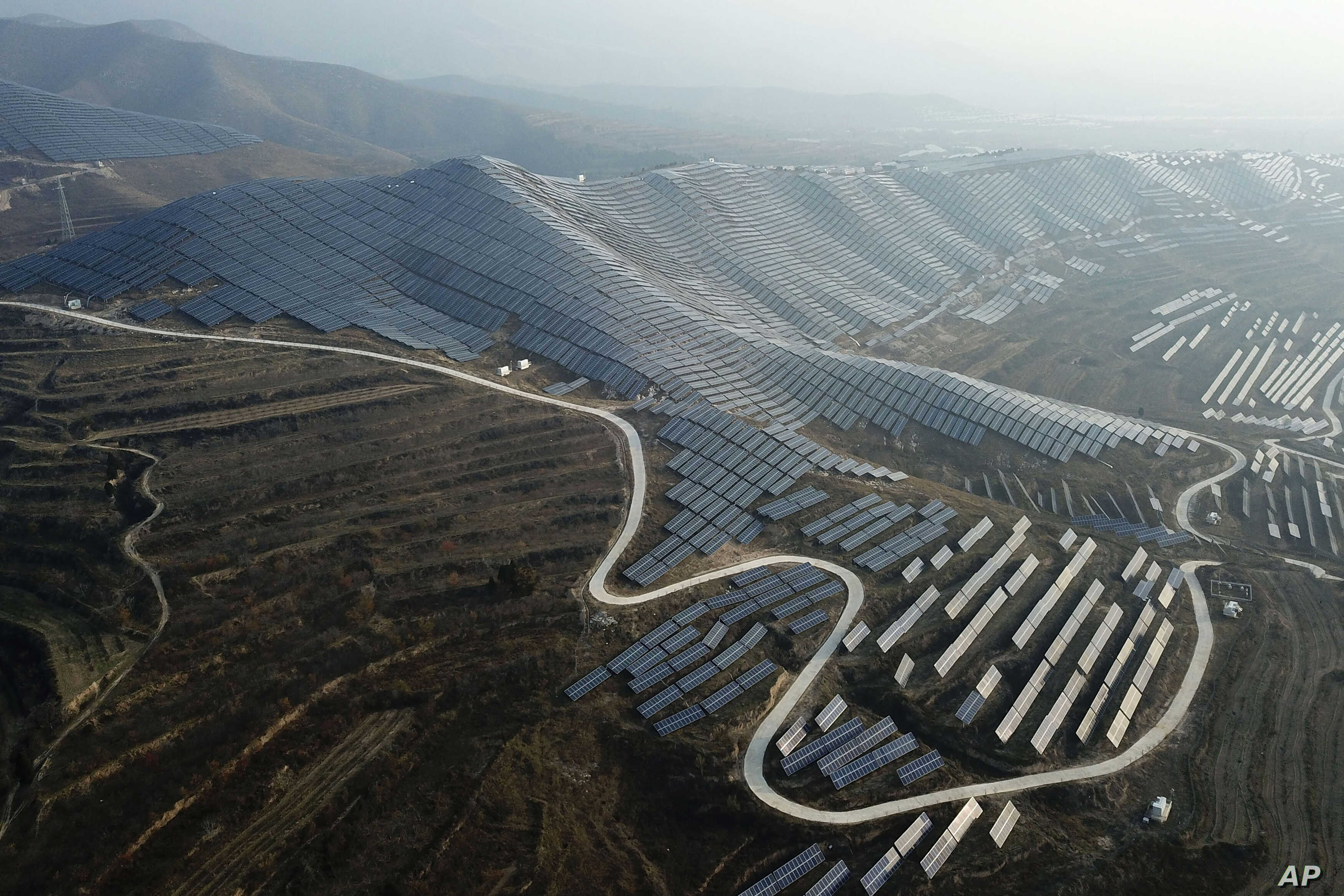 A solar panel installation is seen in Ruicheng County in central China's Shanxi Province.