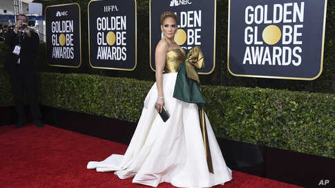Jennifer Lopez arrives at the 77th annual Golden Globe Awards at the Beverly Hilton Hotel on Sunday, Jan. 5, 2020, in Beverly Hills, Calif.