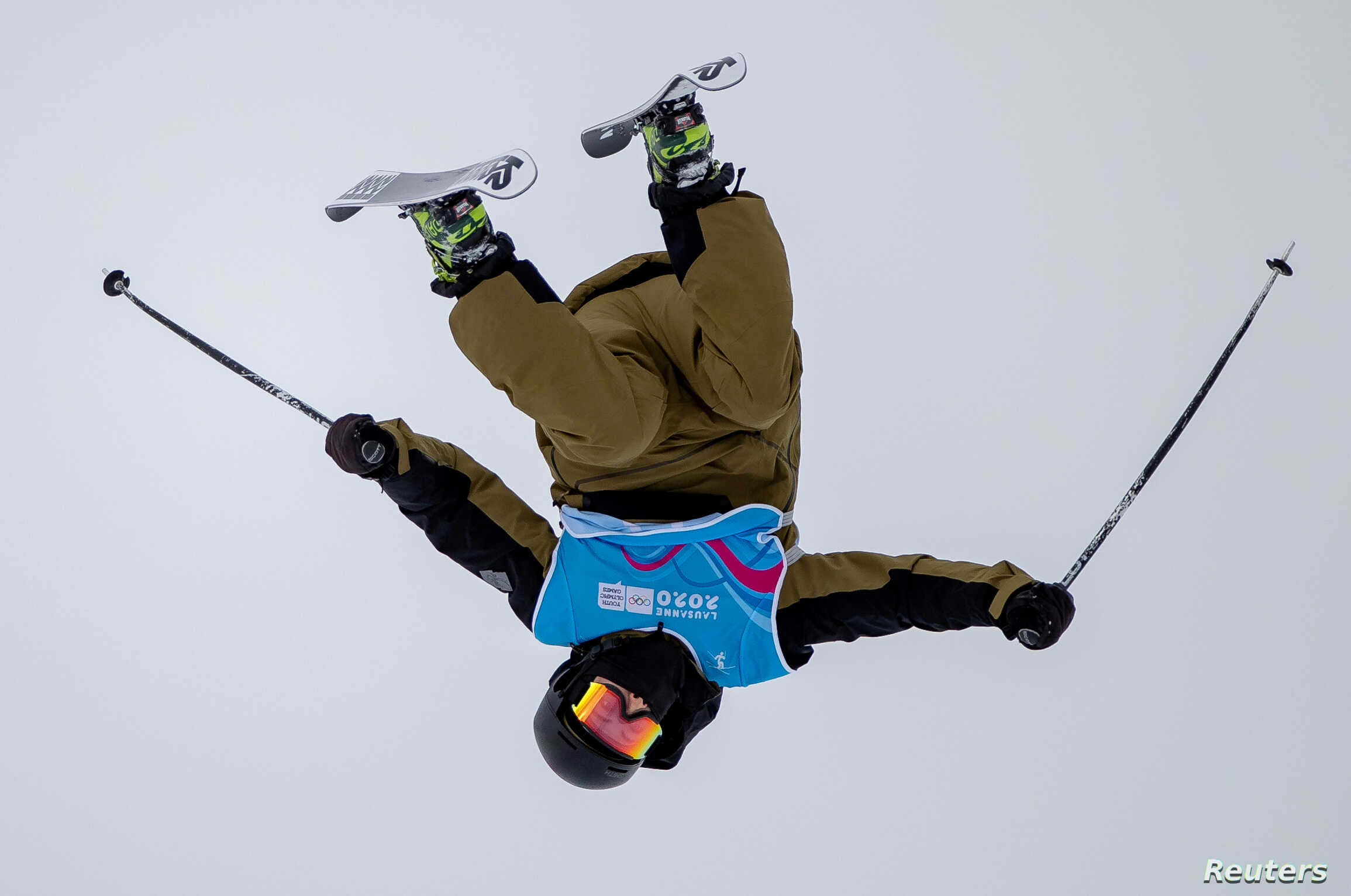 Hunter Carey of the U.S. trains for the freestyle skiing competition at the 2020 Winter Youth Olympics in Leysin Park, Leysin, Switzerland, Jan. 17, 2020.