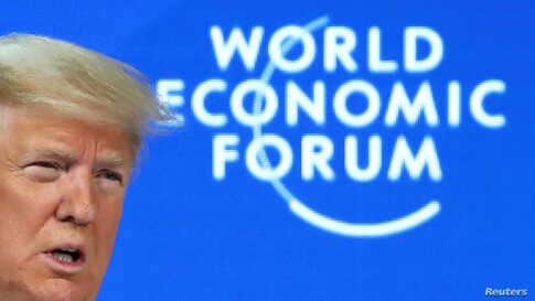 President Donald Trump delivers a speech during the 50th World Economic Forum (WEF) annual meeting in Davos, Switzerland.