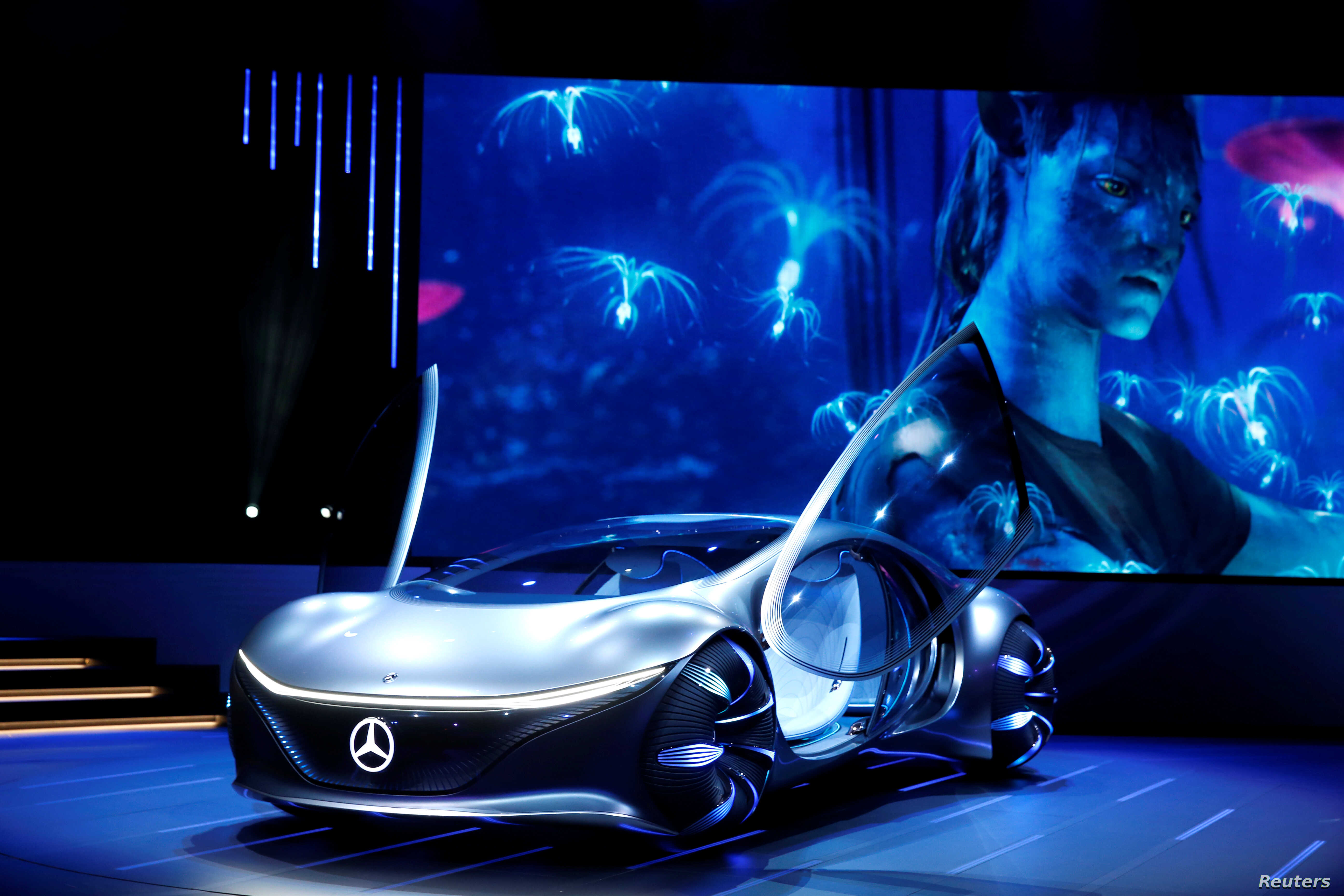 The Mercedes-Benz Vision AVTR concept car, inspired by the Avatar movie, is displayed during the 2020 CES in Las Vegas, Nevada, Jan. 6, 2020.