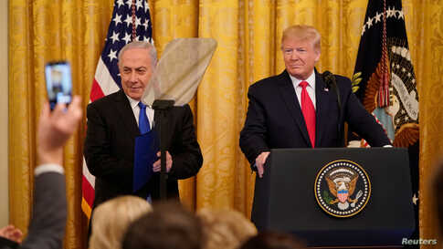 U.S. President Donald Trump delivers joint remarks on a Middle East peace plan proposal with Israel's Prime Minister Benjamin Netanyahu in the East Room of the White House in Washington, Jan. 28, 2020.