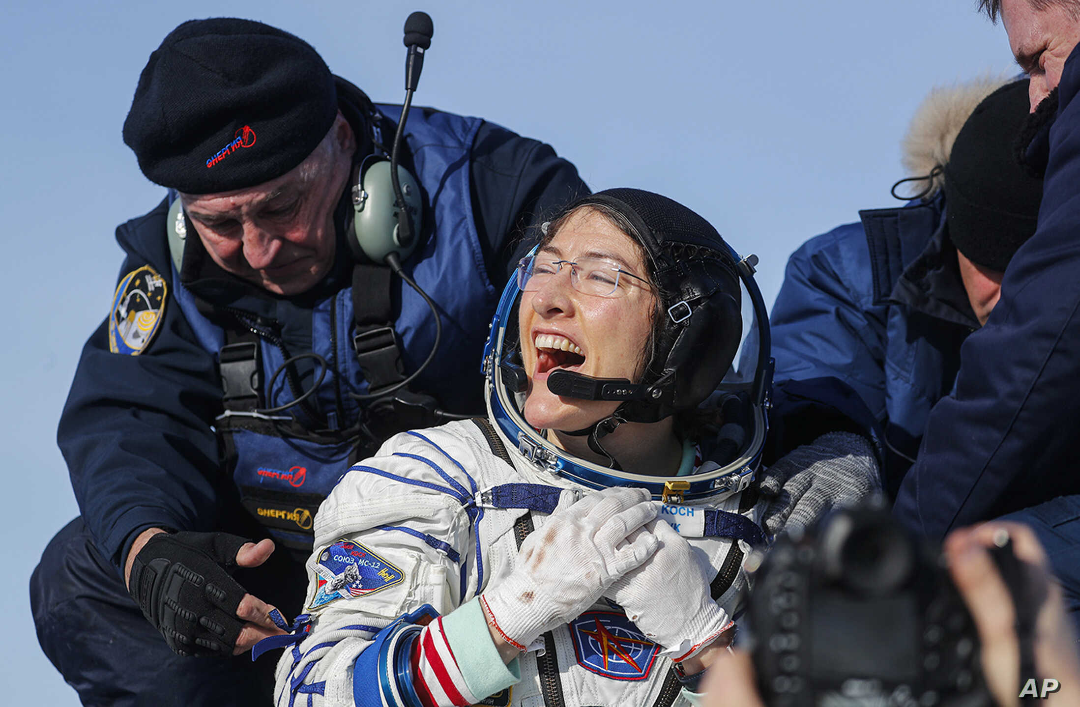 U.S. astronaut Christina aU.S. astronaut Christina Koch reacts shortly after the landing of the Russian Soyuz MS-13 space capsule about 150 km ( 80 miles) south-east of the Kazakh town of Zhezkazgan, Kazakhstan. och reacts shortly after the landing of the Russian Soyuz MS-13 space capsule about 150 km ( 80 miles…