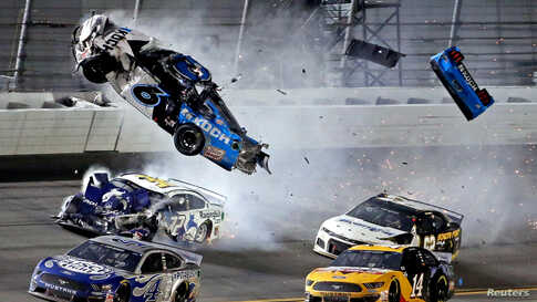 NASCAR Cup Series driver Ryan Newman (6) wrecks during the Daytona 500 at Daytona International Speedway in Daytona Beach, Florida, Feb. 17, 2020. (Credit: Peter Casey-USA TODAY Sports)
