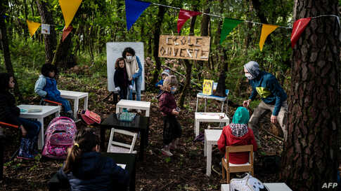 """Children attend a class in the forest near Upie, France. - Some childen went to """"school"""" again in oak and pine trees with parents acting as teachers, to protest against the non-reopening of the school in the village."""