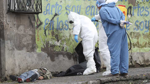 Forensic investigators look at the body of a man infected with the new coronavirus who collapsed on the street and died, according to Police Captain Diego Lopez, in Quito, Ecuador, May 5, 2020.