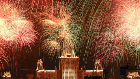 Fireworks explode over Moscow State University during the celebration of the 75th anniversary of the Nazi defeat in World War II in Moscow, Russia, May 9, 2020.