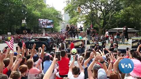 Fans Celebrate US Women's Soccer Team's World Cup Win at New York Parade