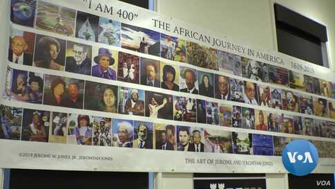 Banner Depicting Influential African Americans Commemorates 400 Years of Black History