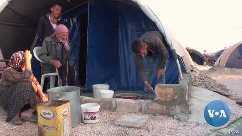 Syrian Refugees Living in Camp Prep for Winter