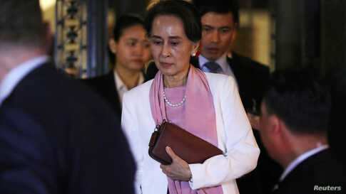 Myanmar's leader Aung San Suu Kyi leaves the International Court of Justice (ICJ), the top United Nations court, after court…