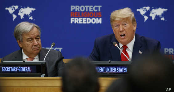 United Nations Secretary General Antonio Guterres listens as President Donald Trump speaks at an event on religious freedom during the United Nations General Assembly, Sept. 23, 2019, in New York.