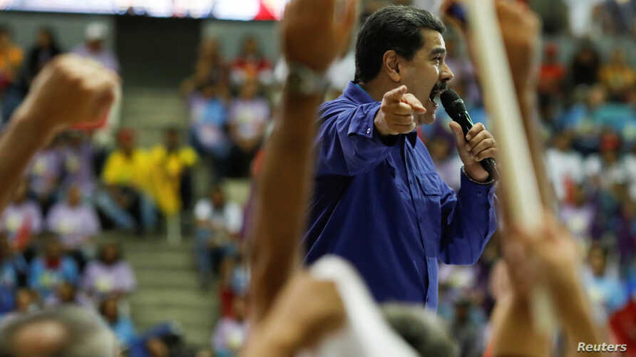 Venezuela's President Nicolas Maduro speaks during an event with supporters of Somos Venezuela (We are Venezuela) movement in Caracas, Venezuela, Feb. 7, 2018.