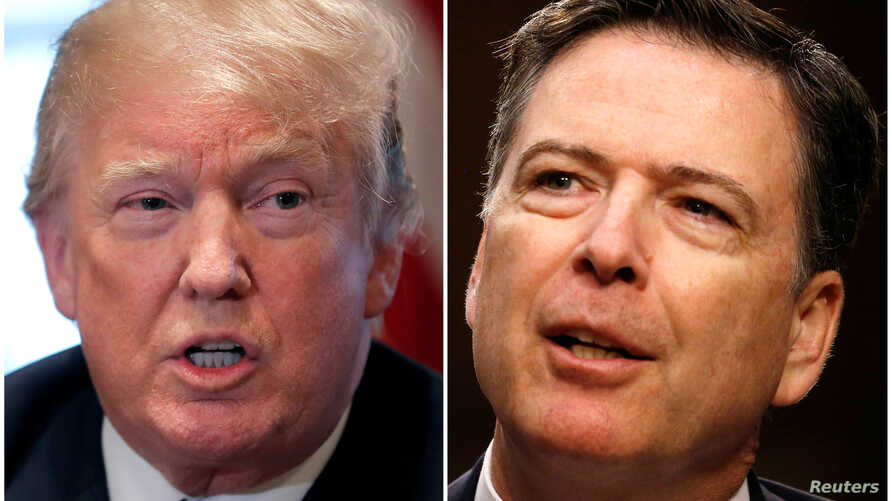 A combination of file photos show U.S. President Donald Trump in the White House in Washington, DC, Apr. 9, 2018 and former FBI Director James Comey on Capitol Hill in Washington, June 8, 2017.