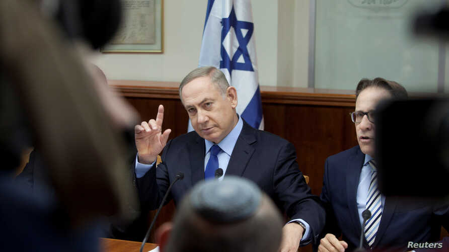 Israeli Prime Minister Benjamin Netanyahu attends the weekly cabinet meeting at his Jerusalem office, Dec. 25, 2016.