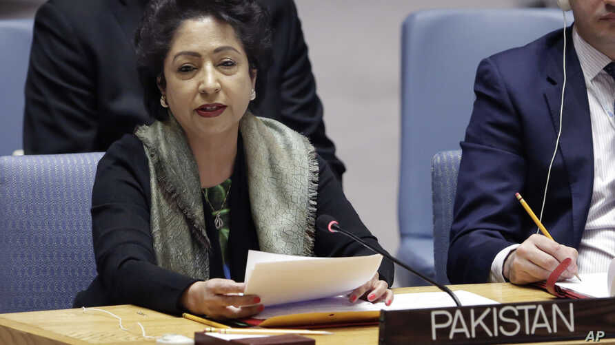 FILE - Pakistan's U.N. Ambassador Maleeha Lodhi speaks in the United Nations Security Council, Jan. 19, 2018.