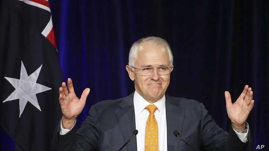 FILE - Australian Prime Minister Malcolm Turnbull addresses party supporters during a rally in Sydney, July 3, 2016.