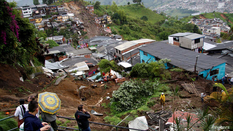 View of a neighborhood destroyed after mudslides, caused by heavy rains leading several rivers to overflow, pushing sediment and rocks into buildings and roads, in Manizales, Colombia, April 19, 2017.