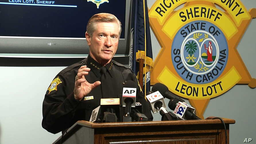 Richland County Sheriff Leon Lott speaks at a press conference in Columbia, S.C., Oct. 27, 2015. Lott suspended Ben Fields, a senior deputy with the department, without pay after a video showed Fields using force to remove a student from a classroom.