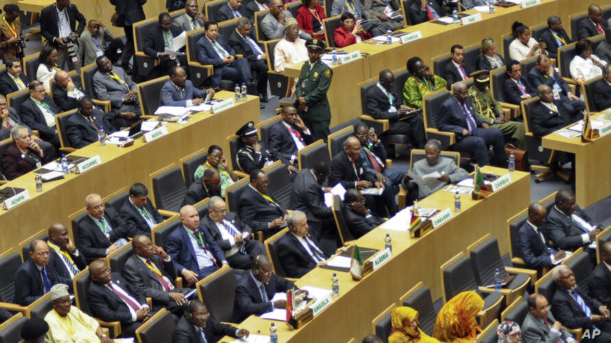 FILE - Delegates are seen attending the opening session of last year's African Union (AU) summit in Addis Ababa, Ethiopia,  Jan. 30, 2014.