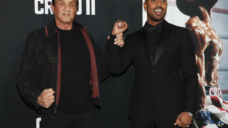 """Sylvester Stallone, left, and Michael B. Jordan attend the world premiere of """"Creed II"""" at the AMC Loews Lincoln Square in New York, Nov. 14, 2018."""