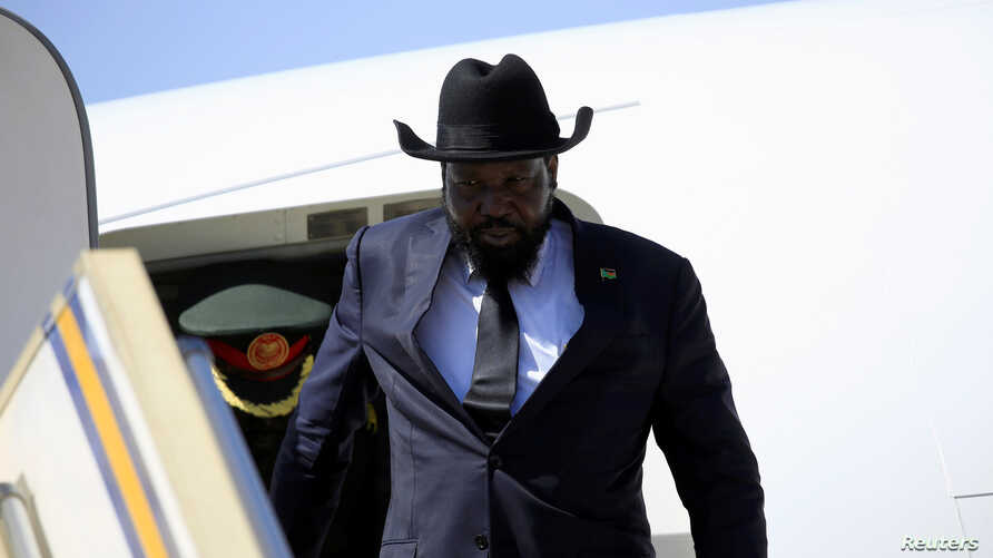 FILE - South Sudan President Salva Kiir is seen exiting his plane in a Nov. 1, 2017, photo