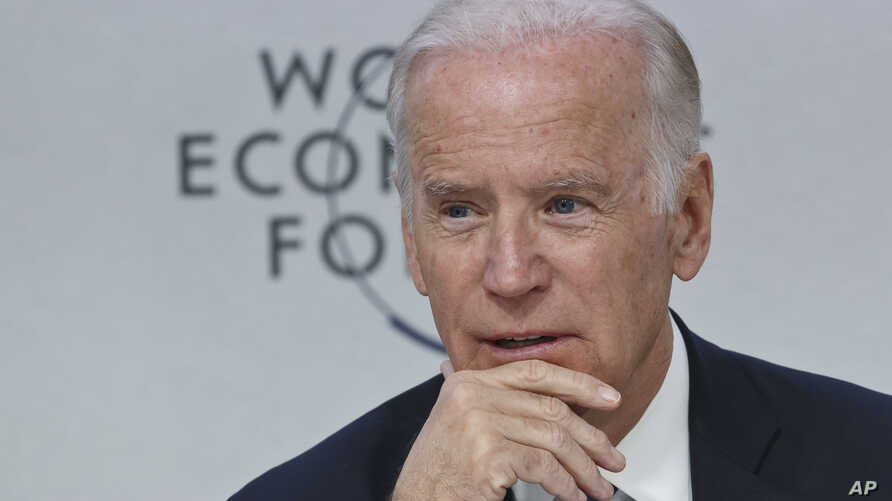 """U.S. Vice President Joe Biden speaks during a panel discussion titled """"Cancer Moonshot: A Call to Action"""" during the World Economic Forum in Davos, Switzerland, Jan. 19, 2016."""