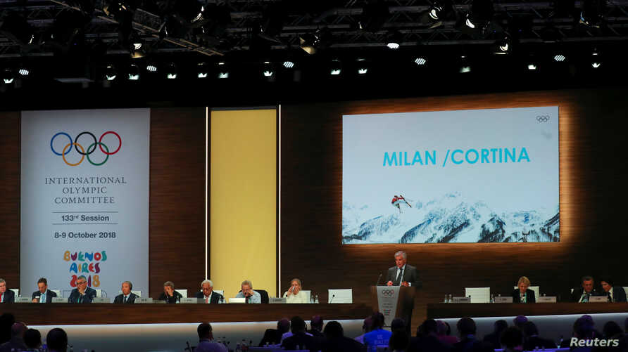 Juan Antonio Samaranch Jr, Vice-President of the International Olympic Committee (IOC), speaks as he presents Milan / Cortina as a candidate to host the 2026 Winter Olympics during the 133rd IOC session in Buenos Aires, Oct. 9, 2018.