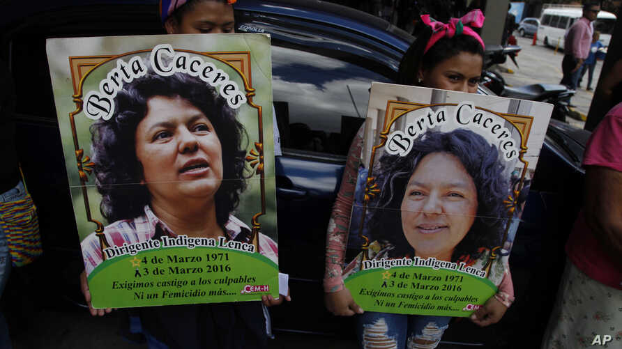 Family, friends and activists gather to demand justice for the murder of environmental activist and Goldman Environmental Prize winner Berta Caceres, in Tegucigalpa, Honduras, March 2, 2018. The authorities' failure to identify those who ordered the