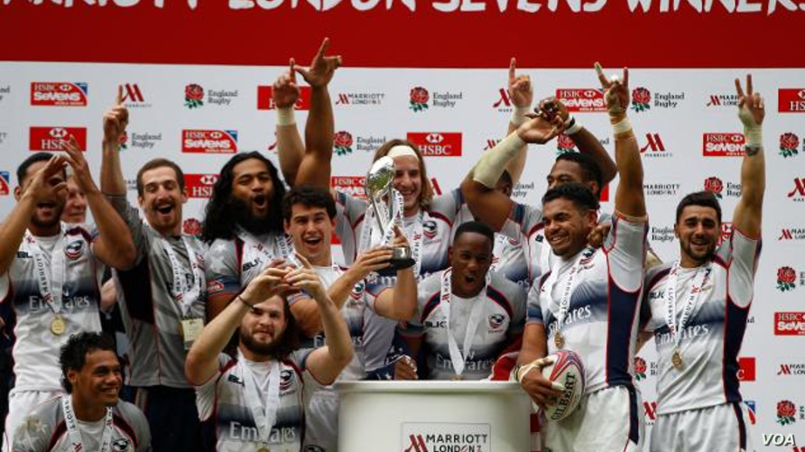 USA win their first-ever Sevens World Series Cup final by beating Australia at London's Twickenham Stadium, May 17, 2015 (Photo Credit: World Rugby / Martin Seras Lima)
