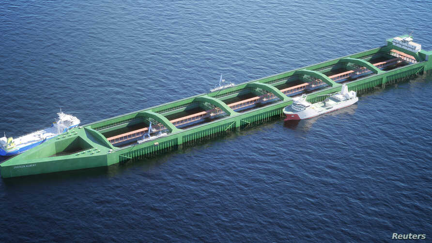 Norwegian salmon farming firm Nordlaks is proposing a design for a 400-metre long fish farm, as in this illustration, that would be able to withstand exposed seas, away from coastal areas where fish suffer from marine lice. Illustration by Nordlaks/H