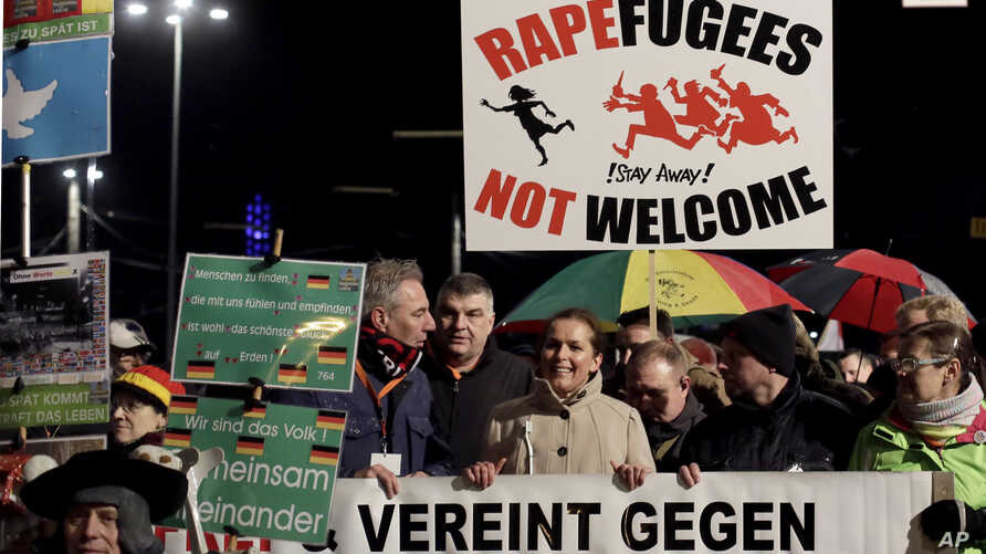 PEGIDA activists rally against the German government's refugee and migrant policies, in Leipzig, eastern Germany, Jan. 11, 2016.
