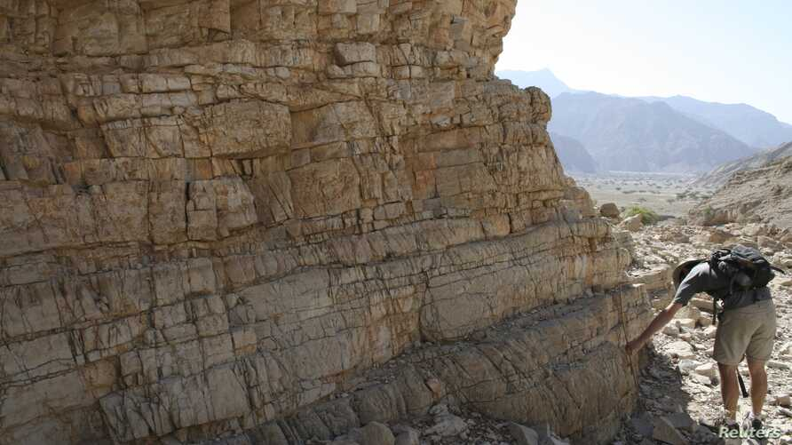 A researcher studies rocks in the United Arab Emirates that were on the seafloor at the time and contained a detailed record of the changing ocean conditions at the end of the Permian Period in this undated handout image released on April 9, 2015.
