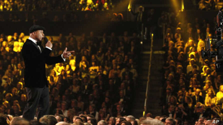 LL Cool J speaks onstage during the 54th annual Grammy Awards on Sunday, Feb. 12, 2012 in Los Angeles.