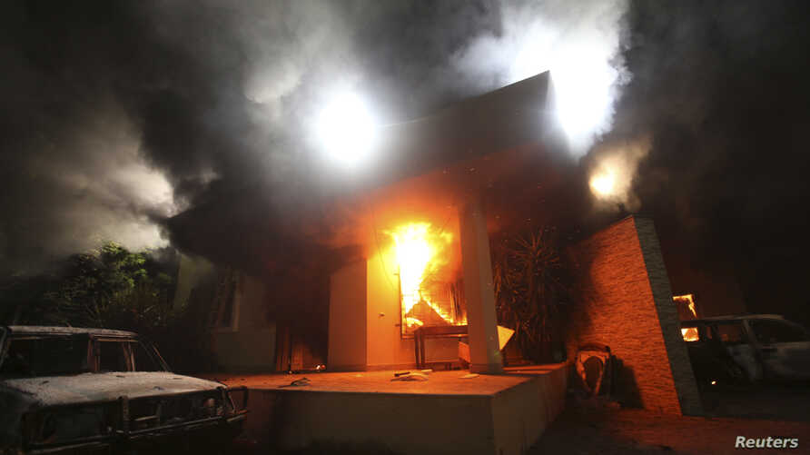 The U.S. Consulate in Benghazi is seen in flames during a protest by an armed group said to have been protesting a film being produced in the United States Sept.11, 2012.