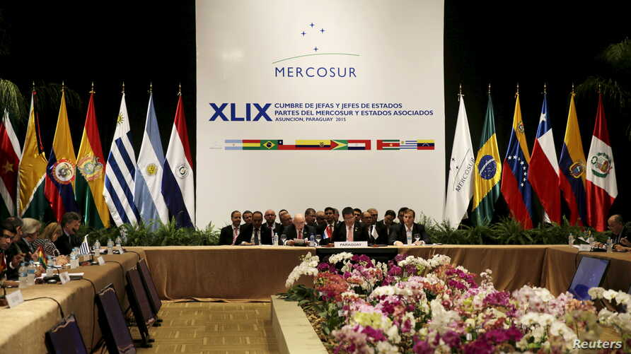 FILE - General view of the Summit of Heads of State of MERCOSUR and Associated States and 49th Meeting of the Common Market Council in Luque, Paraguay, Dec. 21, 2015.