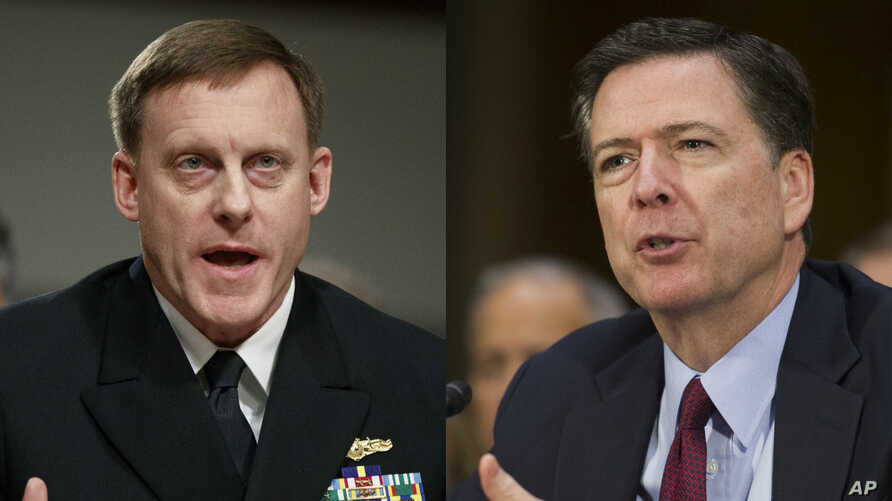 From left, National Security Agency chief Admiral Michael Rogers and FBI Director James Comey will testify publicly about whether there is any truth behind the explosive, but unsubstantiated, claim by U.S. President Donald Trump that former President