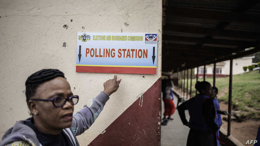 Election officials from the eSwatini Elections and Boundaries Commission set up a polling station on the eve of eSwatini parliamentary elections on Sept. 20, 2018 at Betheny Mission Primary school in Lobamba Lomdzala.